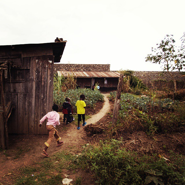 Kids running home in a Kenyan village New life hashellip